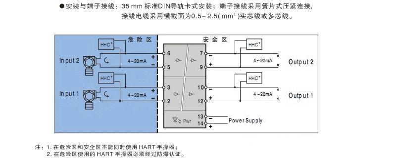 二线制变送器电流信号配电隔离安全栅